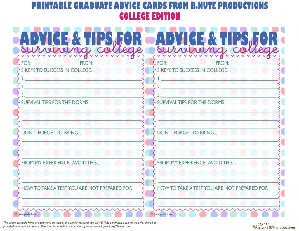 Free Printables | Free Printable Graduate Advice Cards - College | Free Printable Graduation Advice Cards