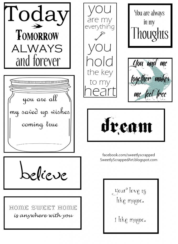 Free Printables - Great Additions To Scrapbooks & Smash Books | Free Printable Greeting Card Sentiments