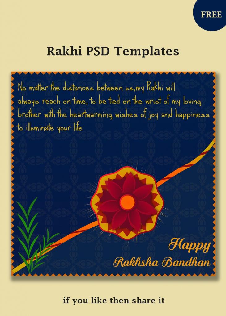 Free Rakhi Vector Templates | Social Post Design | Templates, Psd | Free Online Printable Rakhi Cards