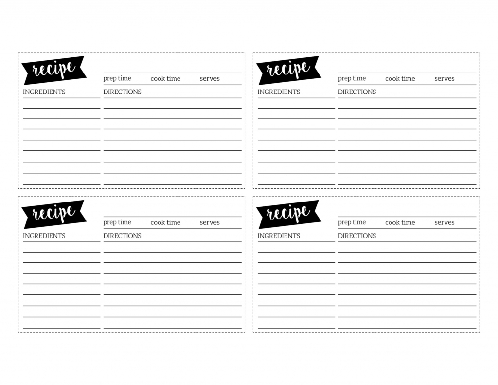 Free Recipe Card Template Printable - Paper Trail Design   Free Printable Recipe Cards