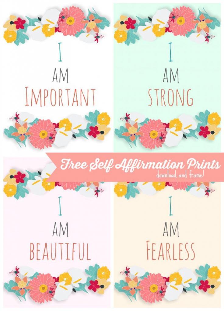 Free Self Affirmation Printables: Print Some Positivity -   Free   Free Printable Positive Affirmation Cards