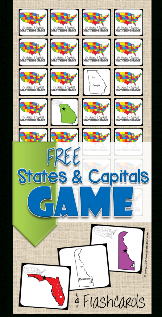 Free State Capitals Game   123 Homeschool 4 Me   States And Capitals Flash Cards Printable