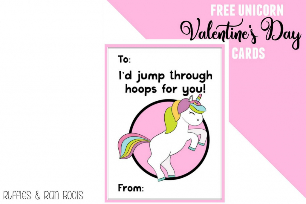 Free Unicorn Valentine's Day Cards Printable For Kids - Ruffles And | Free Printable Childrens Valentines Day Cards