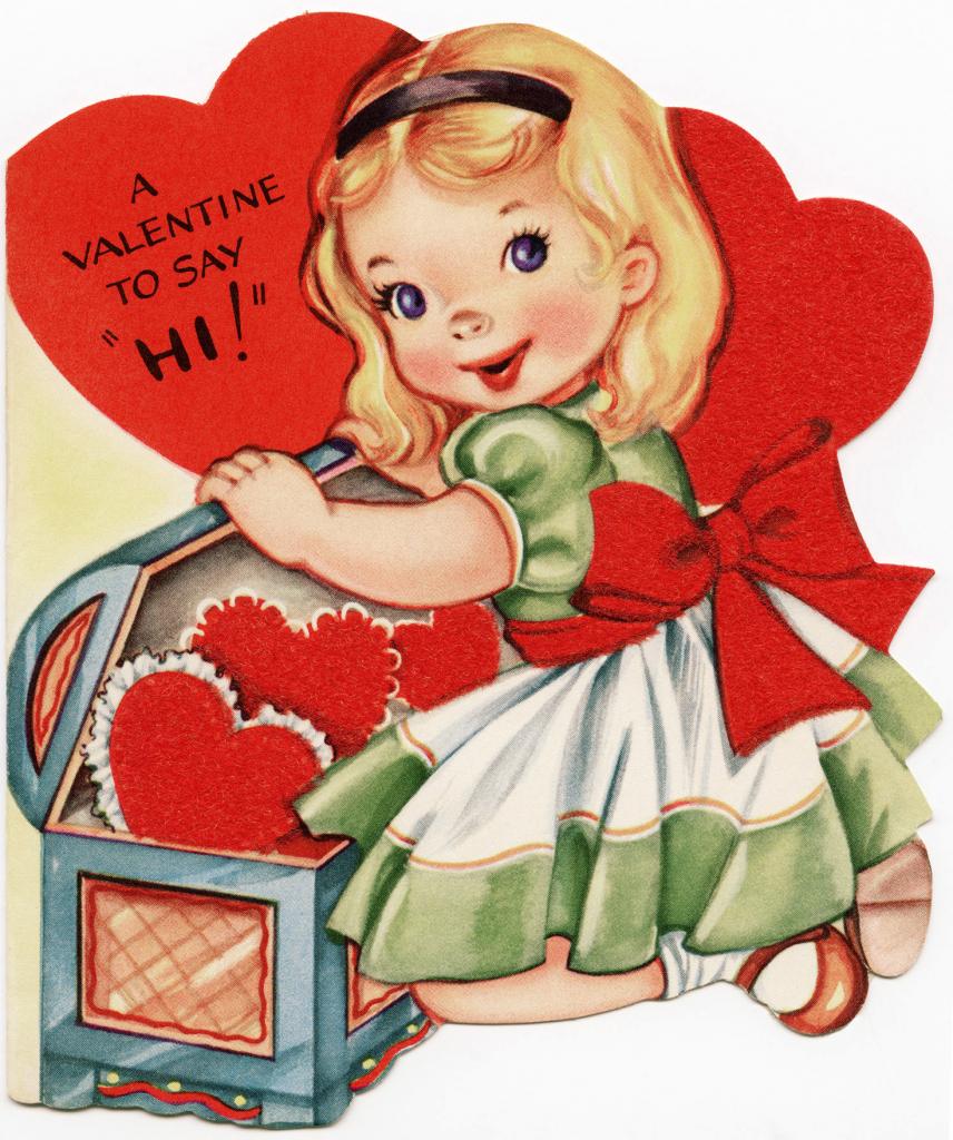 Free Vintage Image ~ A Valentine To Say Hi! - Old Design Shop Blog | Printable Vintage Valentines Day Cards