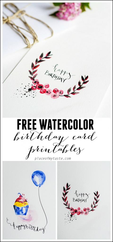 Free Watercolor Birthday Card Printables - Capturing Joy With | Free Printable Birthday Cards For Her
