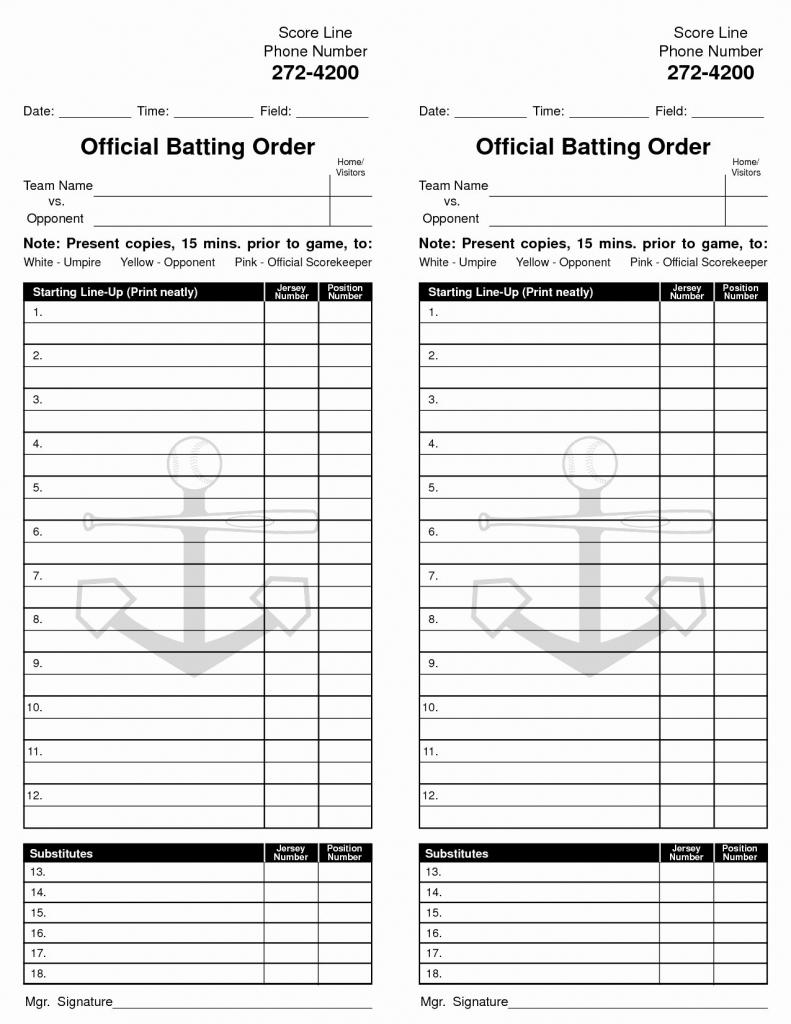 Fresh 26 New Stock Printable Softball Lineup Cards | Twilightblog | Printable Softball Lineup Cards