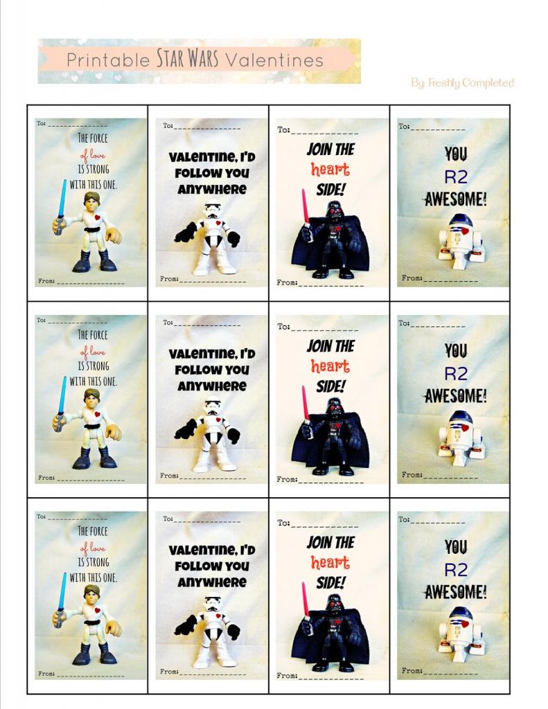 Freshly Completed: Printable Star Wars Valentines | Star Wars Printable Cards Free