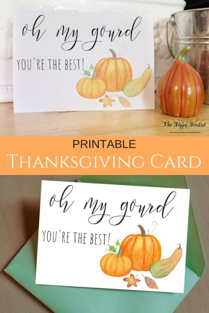 Friendsgiving Card. Printable Funny Thanksgiving Card. Oh My Gourd   Printable Funny Thanksgiving Greeting Cards