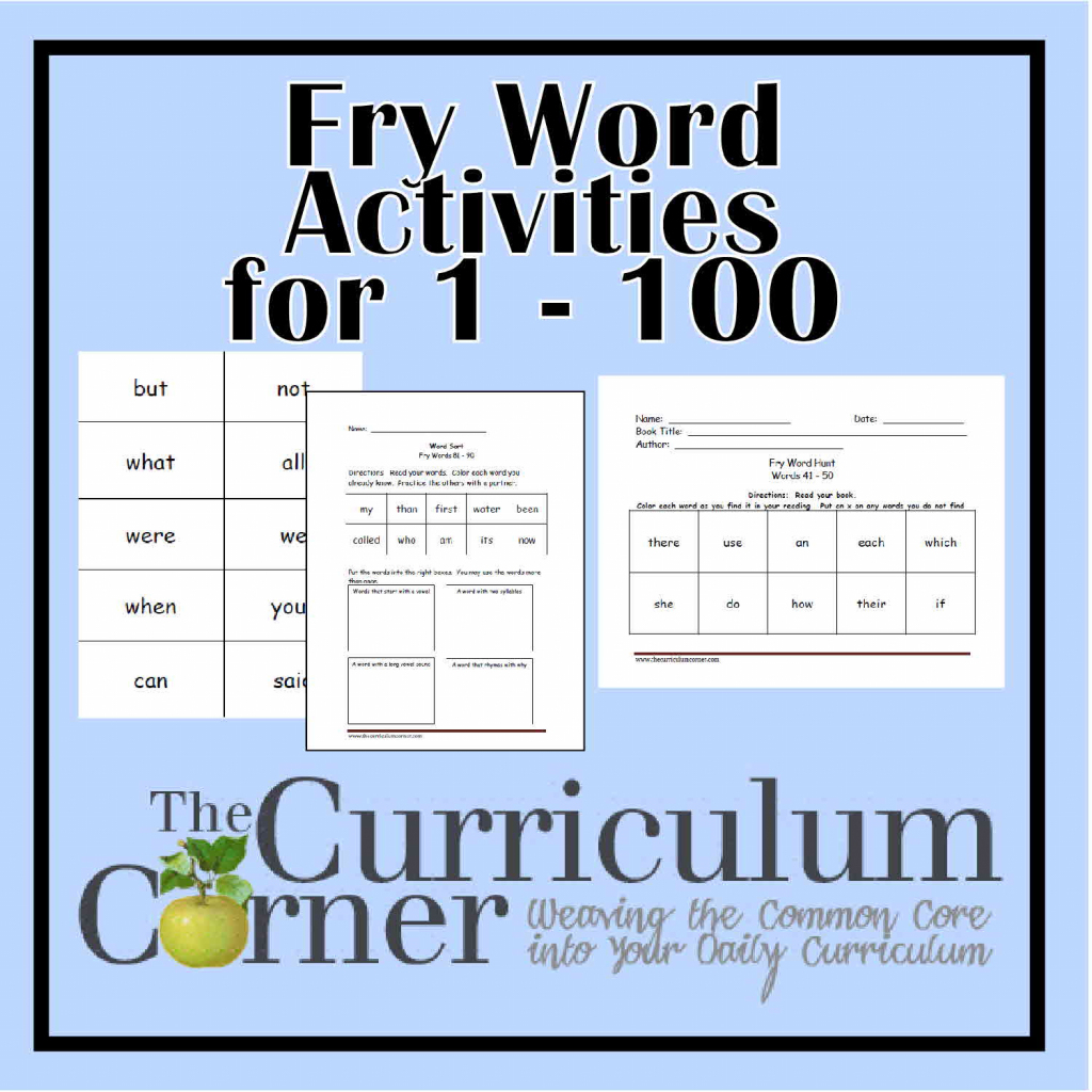 Fry First Hundred Printables (1 - 100) - The Curriculum Corner 123   First 100 Sight Words Printable Flash Cards