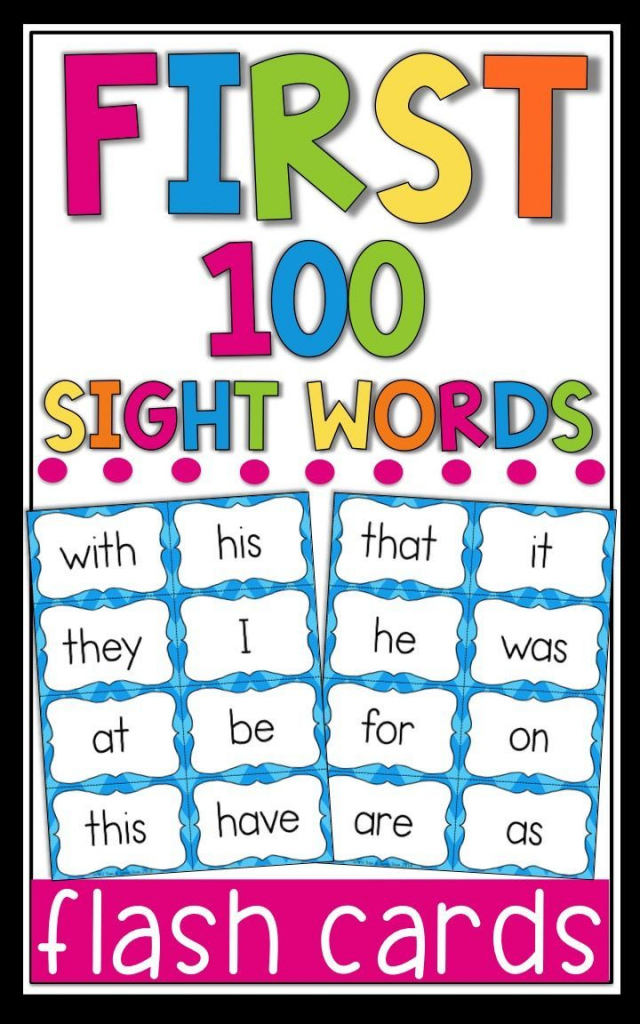 Fry Sight Word Flash Cards - The First 100 - High Frequency Words   First 100 Sight Words Printable Flash Cards
