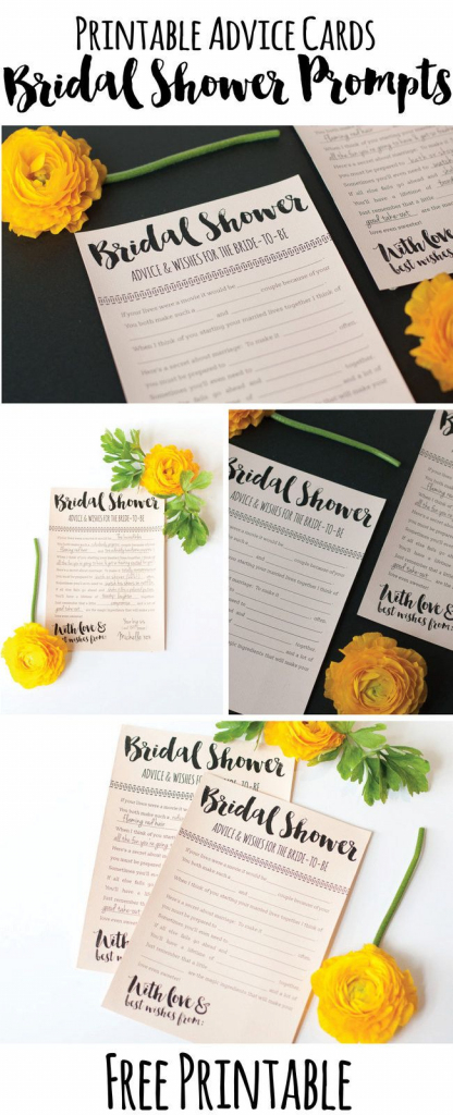 Fun Printable Bridal Shower Advice Cards {Free Download} | Wedding | Free Printable Bridal Shower Advice Cards