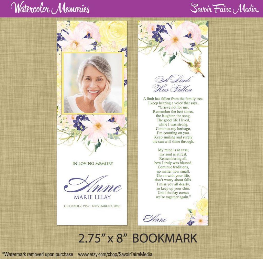 Funeral Memorial Bookmark And Prayer Card // Printable | Memorial | Printable Memorial Cards For Funeral