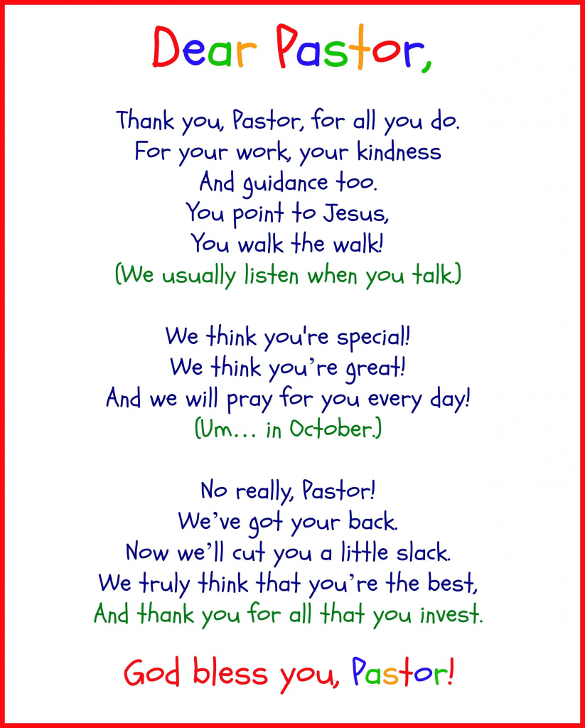 Funny Pastor Appreciation Poems   Pastor   Pastor Appreciation Day   Pastor Appreciation Cards Free Printable