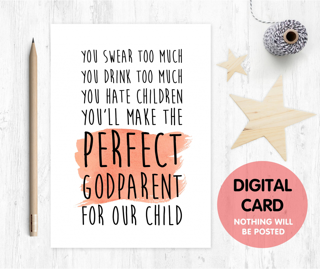 Funny Will You Be My Godmother Card Godmother Card Printable | Etsy | Will You Be My Godmother Printable Card