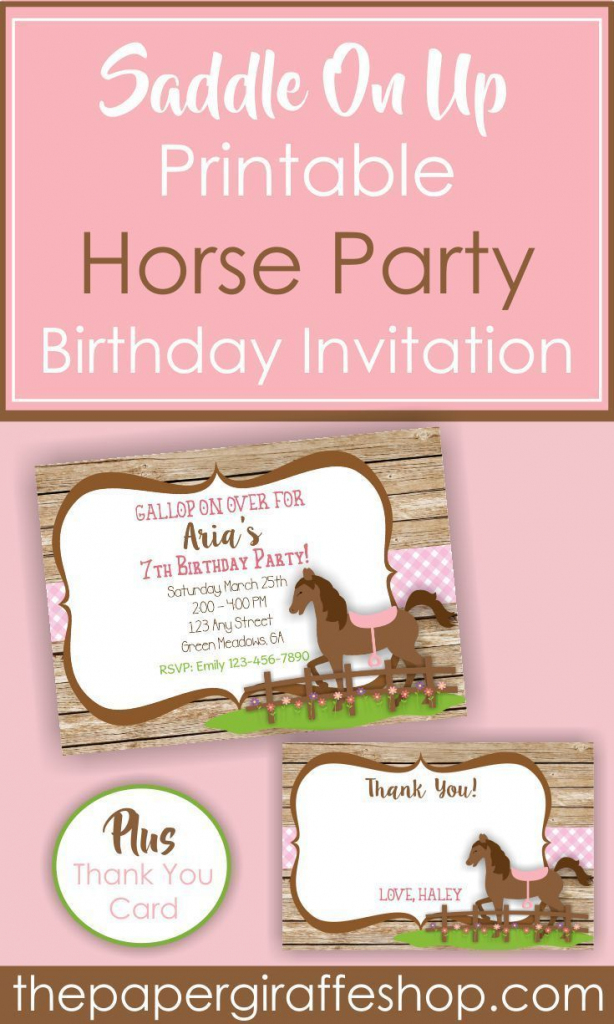 Gallop On Over For Your Cowgirl's Next Birthday Party. Let's Plan A | Horse Thank You Cards Printable