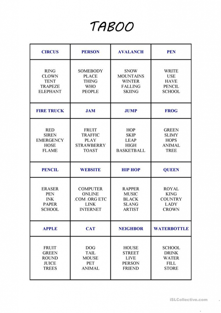 Game Cards: Esl Taboo Game Cards Printable | Taboo Game Cards Printable Pdf