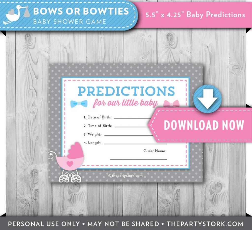Gender Reveal Baby Shower Prediction Card Printable Cards   Etsy   Baby Shower Printable Prediction Cards