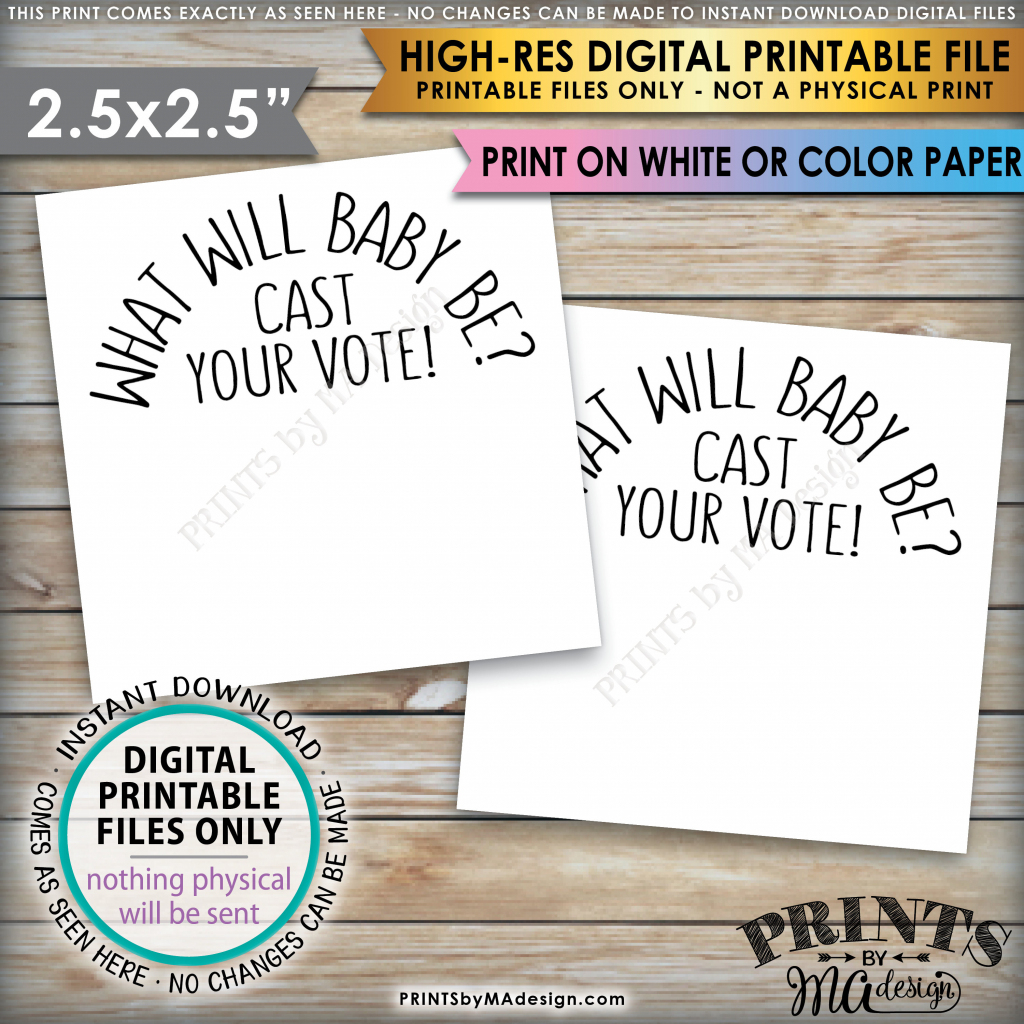 Gender Reveal Party Vote Card, Cast Your Vote Gender Reveal What | Printable Gender Reveal Voting Cards