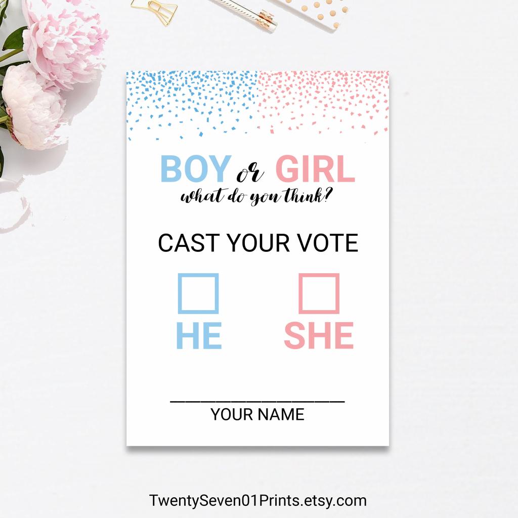 Gender Reveal Vote Ballot Cards Game Printable Confetti Pink | Etsy | Printable Gender Reveal Voting Cards