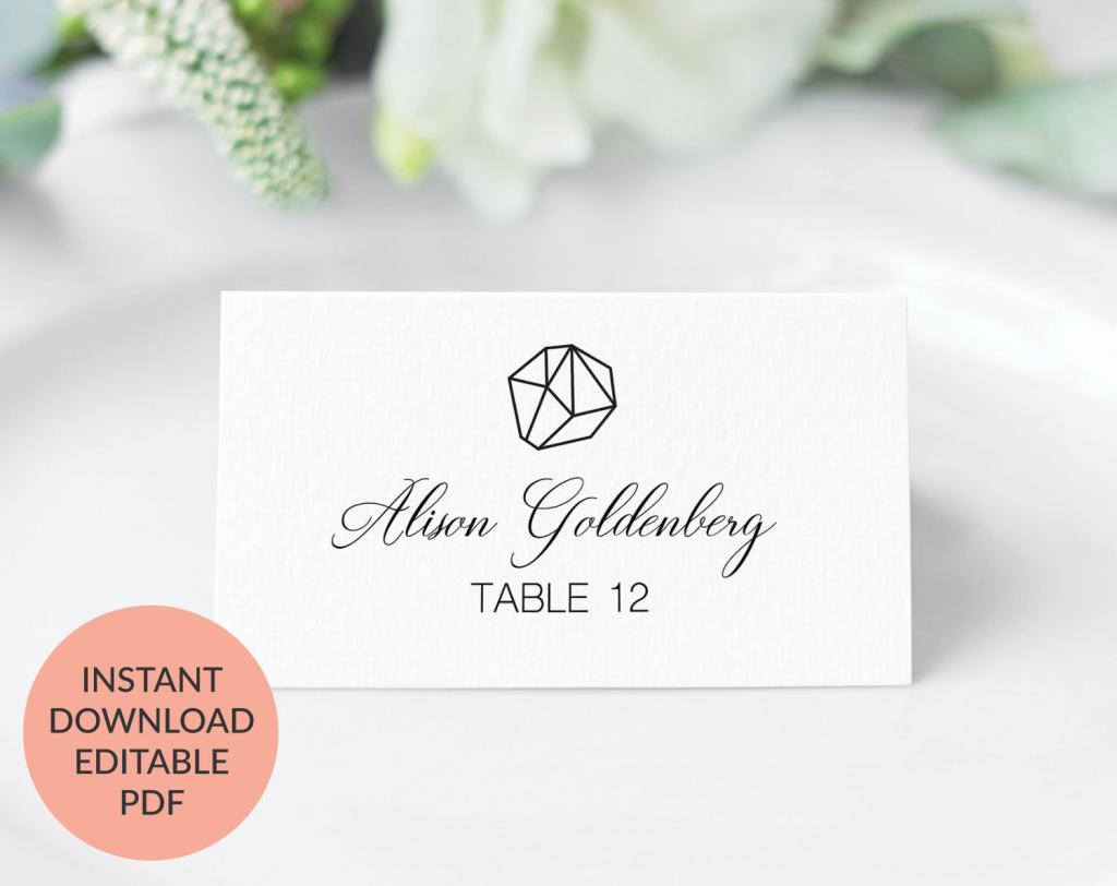 Geometric Wedding Place Cards Printable Wedding Place Cards   Etsy   Printable Wedding Place Cards