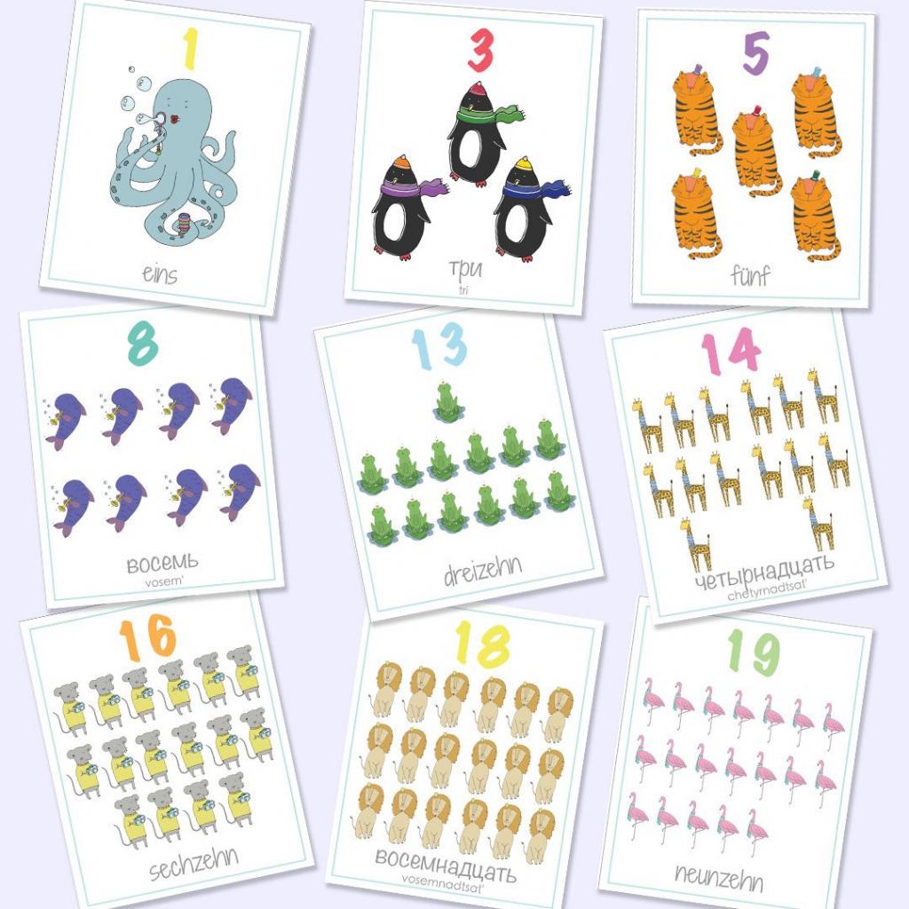 German Russian Bilingual Numbers Flash Cards 1-20 Printable | Etsy | Printable Number Cards 1 20
