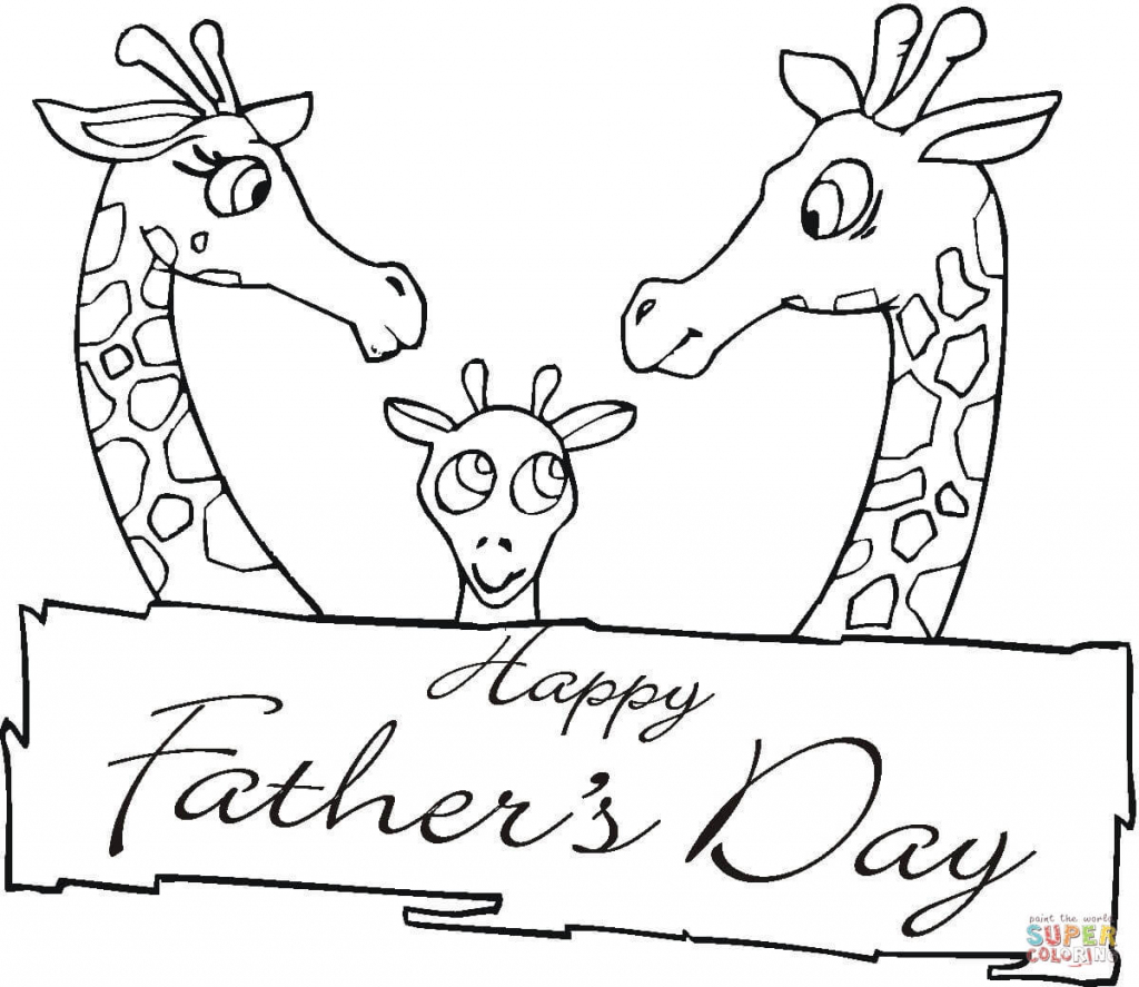 Giraffes Together On Father's Day Coloring Page | Free Printable | Hallmark Free Printable Fathers Day Cards
