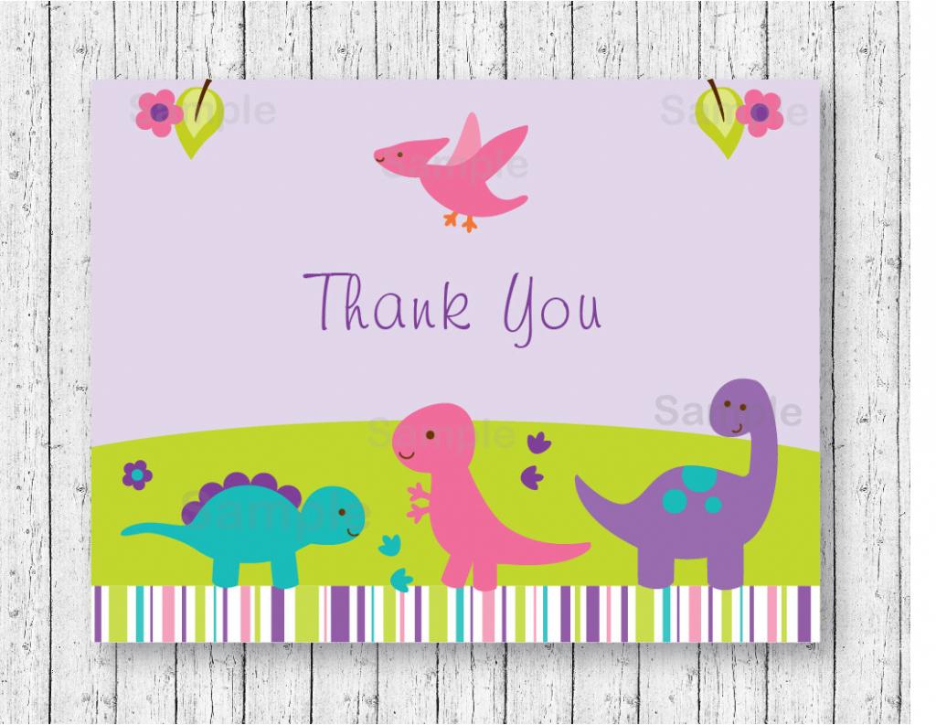 Girl Dinosaur Thank You Card / Dinosaur Baby Shower / Pink & | Etsy | Dinosaur Thank You Cards Printable