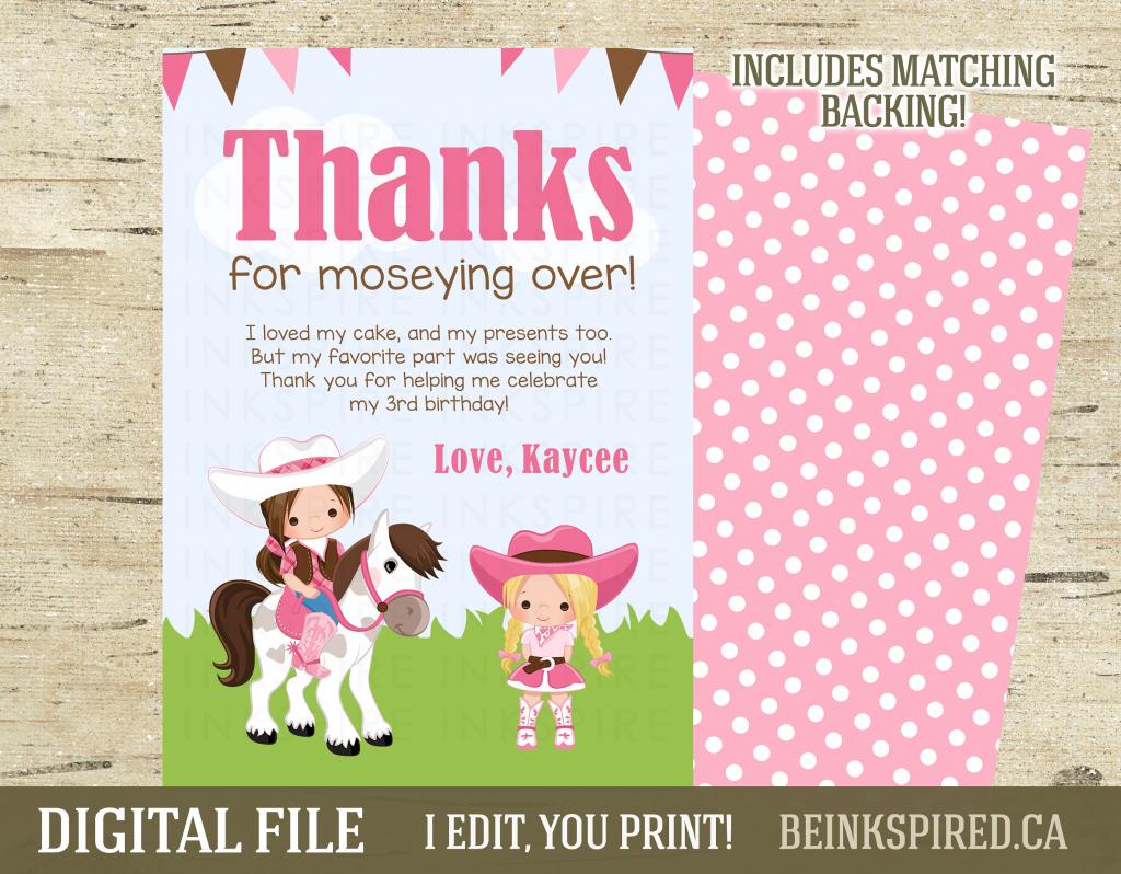 Girls Horse Thank You Card Printable Digital File | Etsy | Horse Thank You Cards Printable