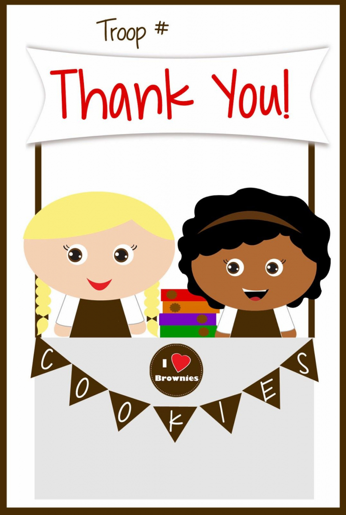 Girls Scouts - Free Printable Brownies Thank You Cards - Cookie | Free Printable Eagle Scout Thank You Cards
