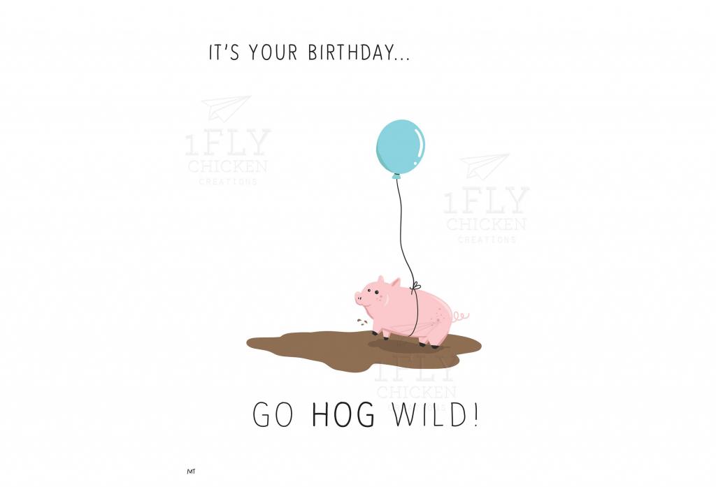 Go Hog Wild Printable Birthday Card - Funny Birthday Card For Kids | Pig Birthday Cards Printable