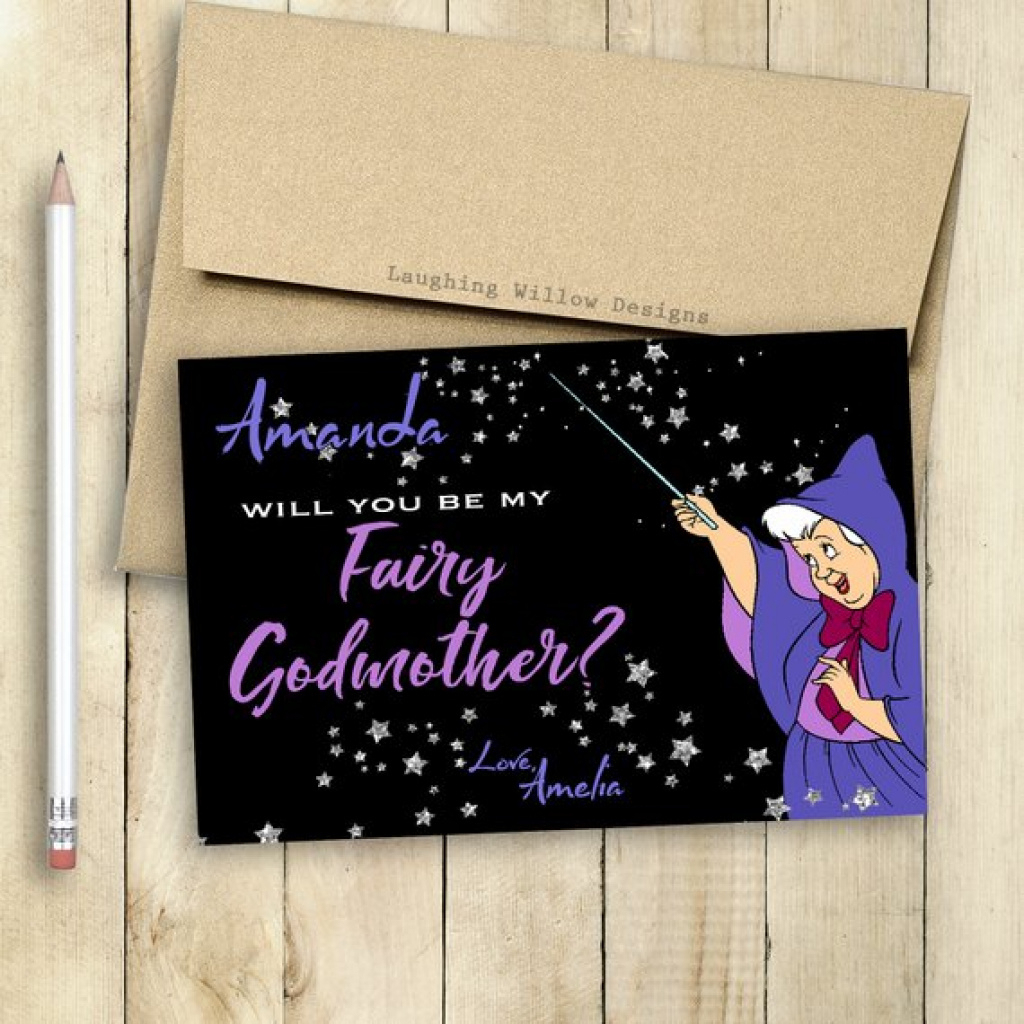 Godmother Card Fairy Godmother Card Will You Be My Godmother | Etsy | Will You Be My Godmother Printable Card Free