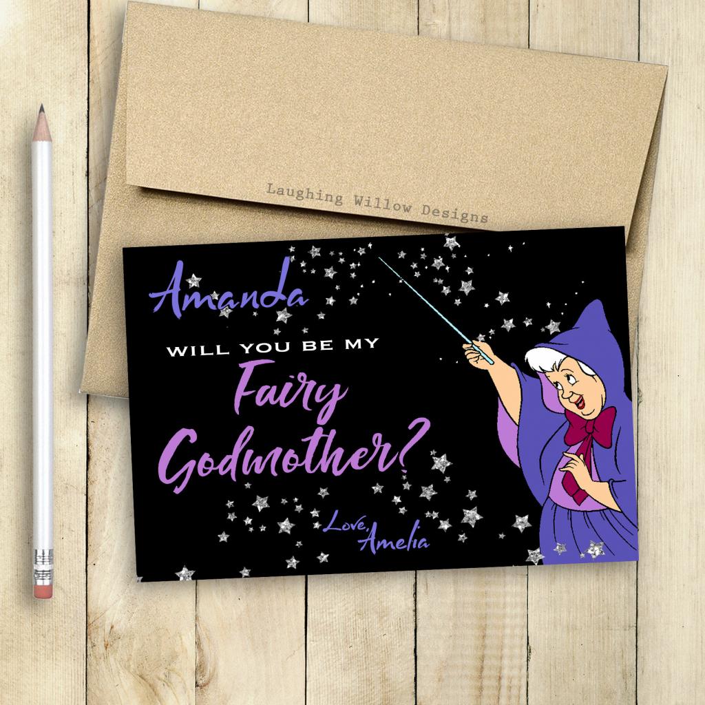 Godmother Card Fairy Godmother Card Will You Be My Godmother | Etsy | Will You Be My Godmother Printable Card