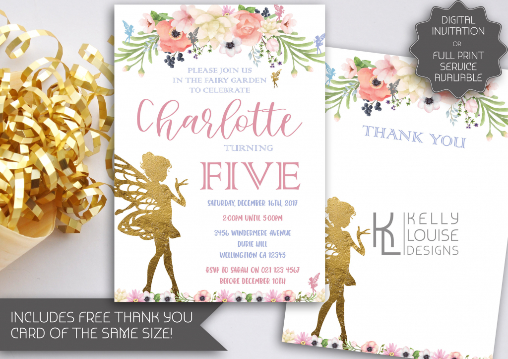 Gold Fairy Garden Party Birthday Invitation | Fairy Party | Printable Tinkerbell Thank You Cards