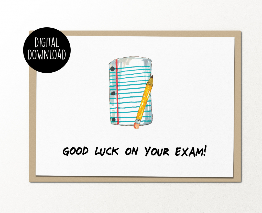 Good Luck On Your Exam Printable Card Digital Download Funny | Etsy | Printable Good Luck Cards For Exams
