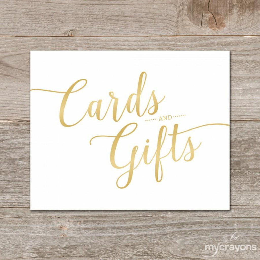 Gradient Gold Cards And Gifts Sign // Printable Wedding Card Sign | Cards Sign Free Printable