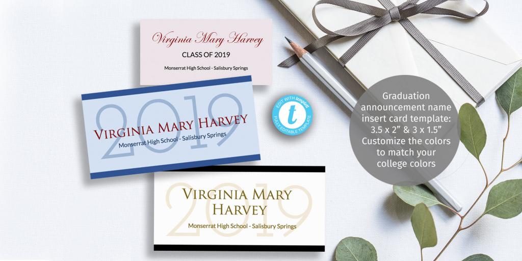 Graduation Name Card Insert Diy Customizable Printable   Etsy   Printable Name Cards For Graduation Announcements