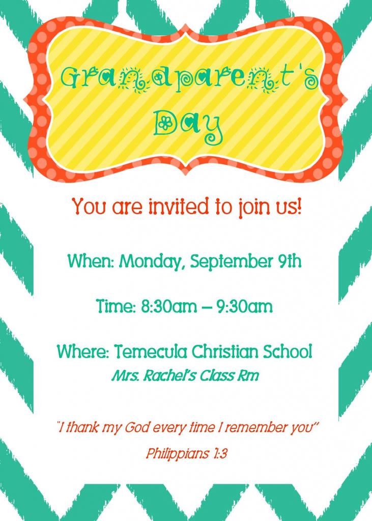 Grandparent's Day Invite | Party Time | Grandparents Day | Grandparents Day Invitation Cards Printable