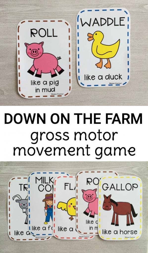 Gross Motor Farm Game | Farm Animal Cards Printable