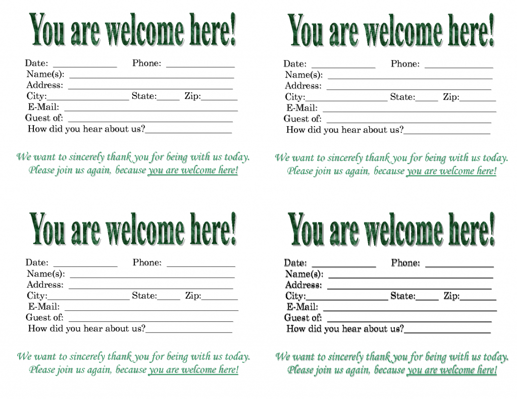 Guest Card Templates - Kleo.bergdorfbib.co | Printable Guest Cards For Apartments