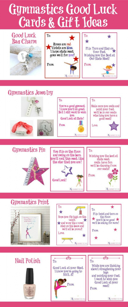 Gymnastics Good Luck Gift Ideas Along With Free Printable Good Luck | Printable Good Luck Cards