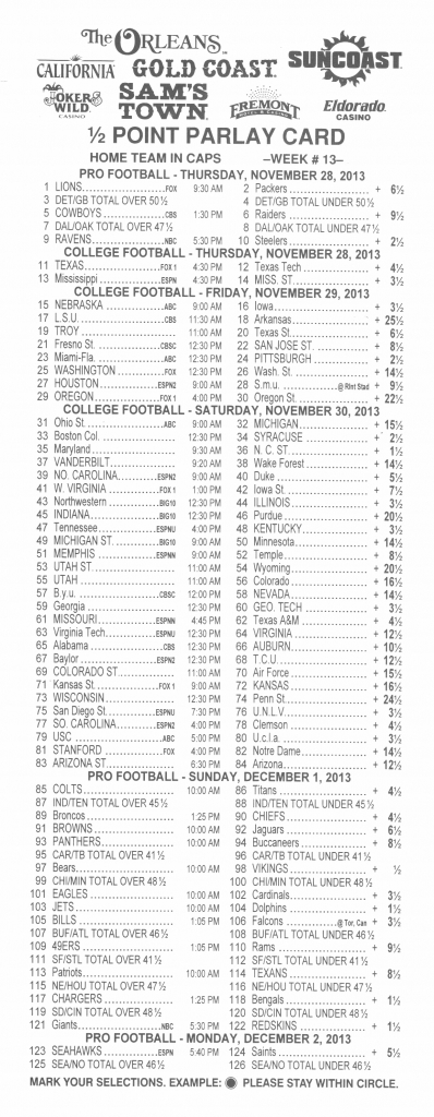 Half Point Parlay Cards - Sports Betting - Gambling - Page 8 | Free Printable Football Parlay Cards
