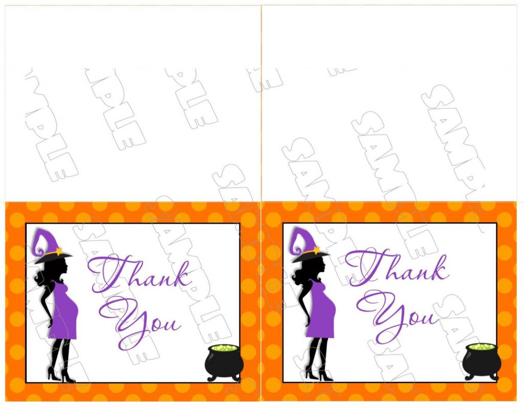 Halloween Baby Shower Thank You Card Printable Instant Download | Halloween Thank You Cards Printable