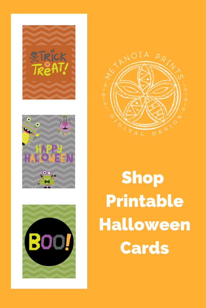 Halloween Printable Cards Instant Digital Download Halloween Party | Cute Printable Halloween Cards