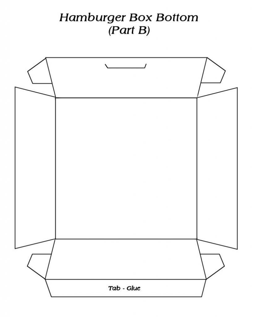 Hambuger Box ( 2 ) Template - Free To Use   Hamburger Box   Gift Card Box Template Printable