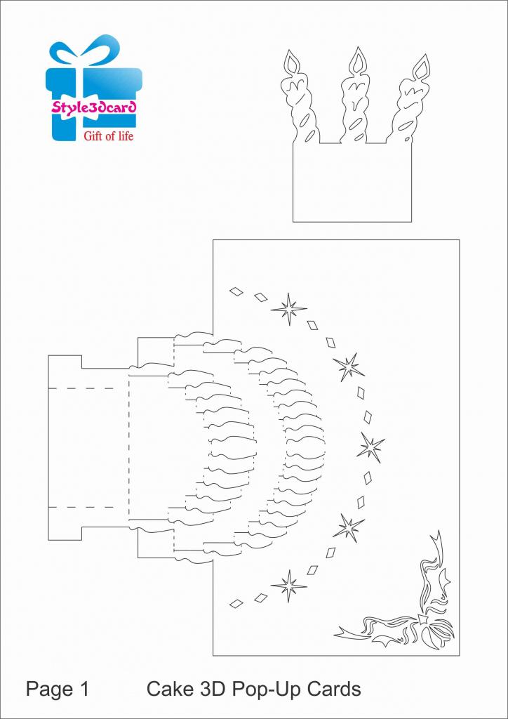 Happy Birthday-Cake-3D-Pop-Up-Greeting-Card/ Kirigami Pattern 1 | Free Printable Birthday Pop Up Card Templates