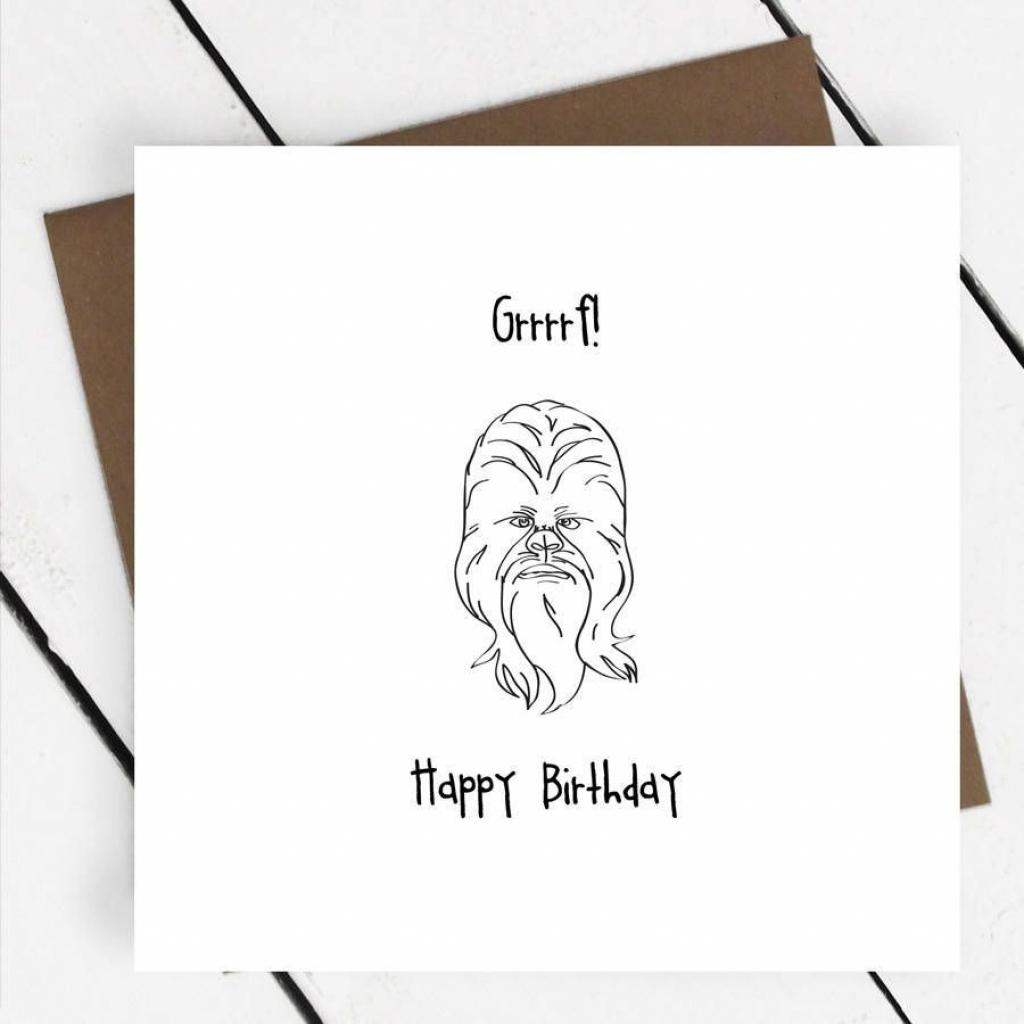 Happy Birthday' Chewbacca Star Wars Greeting Card - A Piece Of | Star Wars Birthday Card Printable