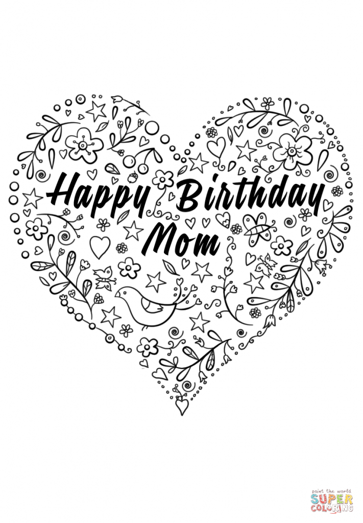 Happy Birthday Mom Coloring Page | Free Printable Coloring Pages | Free Printable Birthday Cards For Mom From Son
