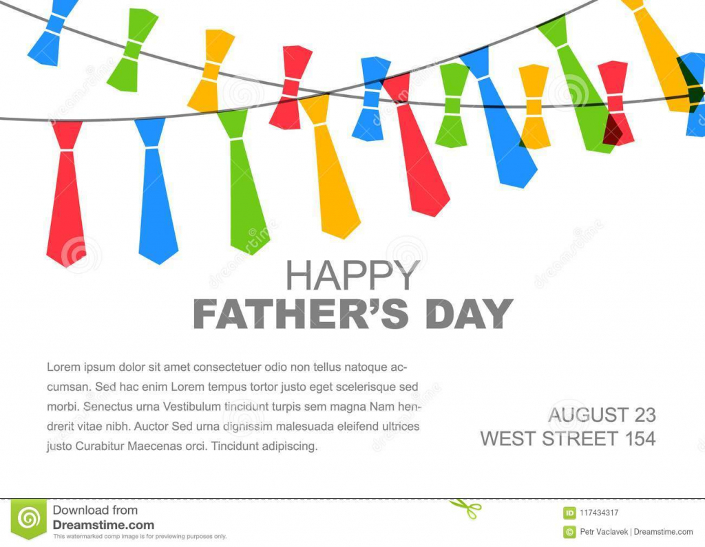 Happy Father`s Day Card Template Stock Vector - Illustration Of | Father's Day Tie Card Printable