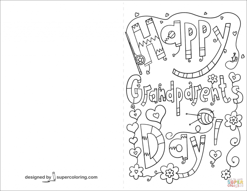 Happy Grandparents Day Doodle Card Coloring Page | Free Printable | Grandparents Day Cards Printable