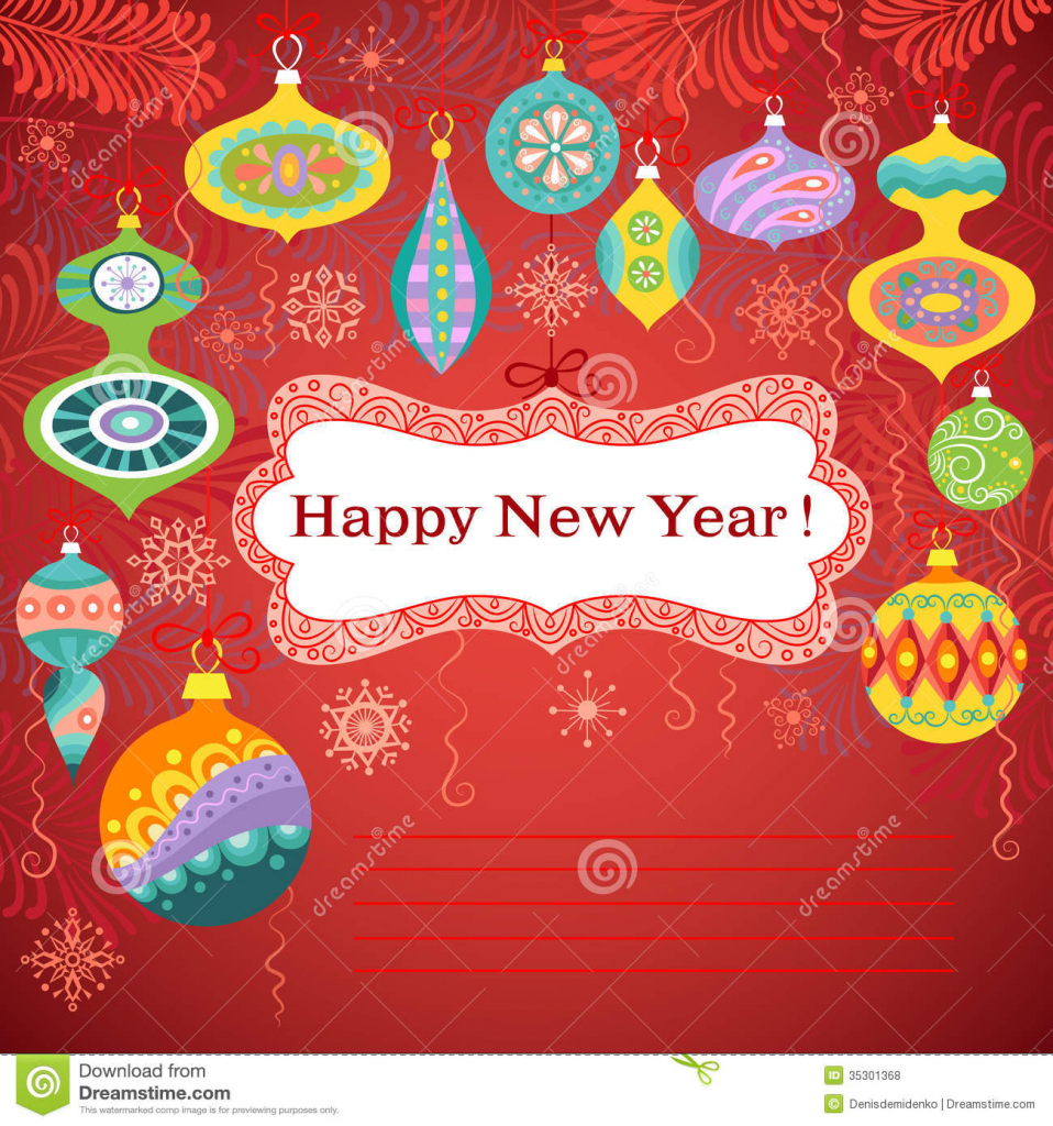 Happy New Year Card Stock Vector. Illustration Of Banner - 35301368 | Free Printable Happy New Year Cards